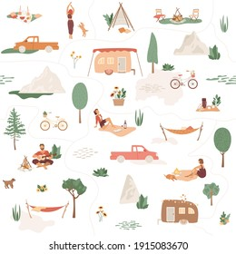 Big collection of camping objects. Seamless pattern with outdoor recreation, people relax, play the guitar, drink wine, walking with dog, sitting near campfire. Trailer, tent, hammock, picnic in park.