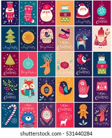 Big collection of cards and tags with Christmas elements and symbols