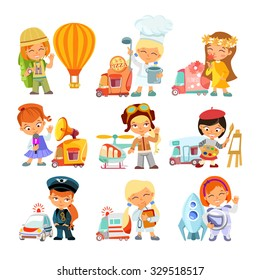 Big collection of cartoon little girls in various professions with vehicles. Traveler,cook,florist,journalist,pilot,painter,doctor,astronaut. Vector illustrations isolated on white background
