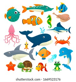 Big collection cartoon sea animals isolated on white background