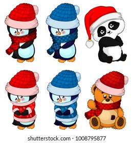 Big collection Christmas penguins, teddy bear and panda poses.