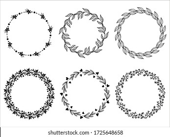 Big collection of circle cute hand drawn floral frames