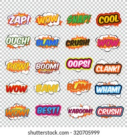 Big collection colorful speech bubbles and explosions in pop art style. Elements of design comic books. Zap, snap, ouch, blam, wow, oops, clank and other from different comic fonts.