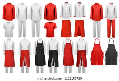 Big collection of culinary clothing, white and red suits and aprons. Vector.