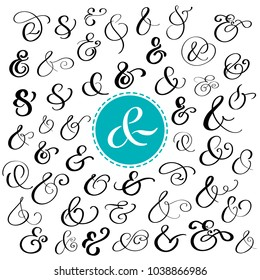 Big collection of custom handwritten ampersands. Polished hand drawn symbols for wedding invitation. Vector illustration
