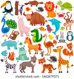Big collection of cute cartoon animals. Vector flat illustration.