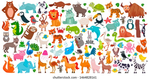 Big collection of cute cartoon animals. Vector flat illustration.