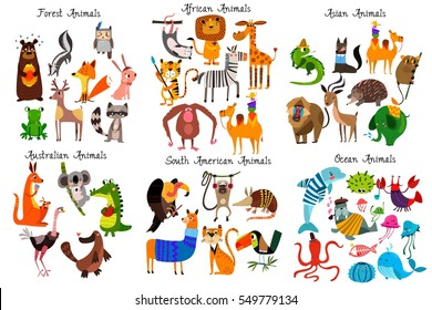 Big collection of cute cartoon animals from different continents: Forest,Australian, African ,South american animals,Ocean animals and Asian animals.Vector illustration isolated on white