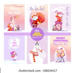 Big collection of cute christmas card templates.Winter collection.Printable cards set. Vector illustration - Shutterstock ID 338254517