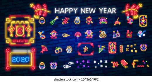 Big collection design card for Chinese New Year. Chinese New Year neon sign, bright signboard, light banner. Chinese logo neon, emblem. 2020 Chinese. Vector illustration