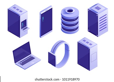 Big collection of IT devices and computing icons. Servers, databases, network devices. Vector isometric illustration isolated on white background