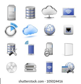 Big collection of IT devices and computing icons. 16 highly detailed vector icons. Servers, databases, network devices and cloud computing concept