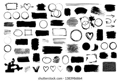 Big collection of different black ink brush strokes, stains, blobs, frames and prints, rectangular, circle and square shape for decor of banners, inscriptions, logos in grunge vintage design