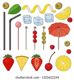 Big collection of elements for the decor of cocktails. Tubes, skewers, spiral, lemon, strawberry, pineapple, cherry, olives, ice, umbrella, mint. vector illustration. isolated objects.
