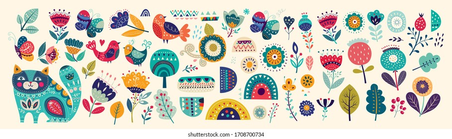 Big collection of flowers, leaves, birds, cat and spring symbols and decorative elements