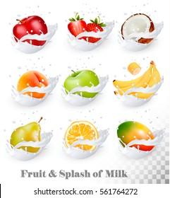 Big collection of fruit in a milk splash. Apple, mango, banana, peach, pear, orange, coconut, strawberry. Vector Set 1.