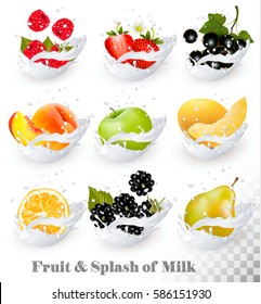 Big collection of fruit in a milk splash. Strawberry, raspberry, honeydew melon, peach, pear, orange, apple, blackberry. Vector Set 8.