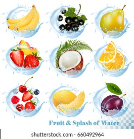 Big collection of fruit in a water splash icons. Banana, coconut, peach, orange, plums, strawberry, honeydew, raspberry, blackberry, blueberry, cherry. Vector Set