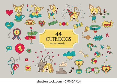 Big collection with funny vector dog characters and decor elements. Its ideal for greeting cards, patterns, web design, banners, invitations, stickers, t-shirts, logos, packaging design,.