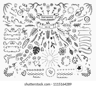 Big collection of hand drawn design elements such as text dividers, borders with flourishes, frames, ribbons, doodle flowers, leaves and hearts etc. Vector black and white llustration for your design.