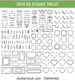 Big collection of hand drawn design elements. Wreaths, frames, hearts, borders, dividers, corners, vintage ornate motifs.