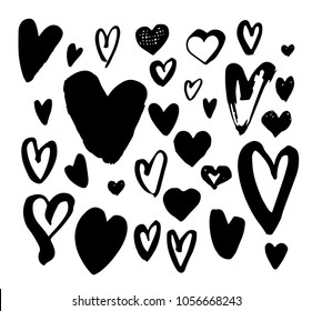 Big collection of hand drawn doodle hearts. Handwriting different heart set. Hand made unique illustration for postcard, printing, tatoo. Lovely fresh design. Vector ink. Eps 8, 10.