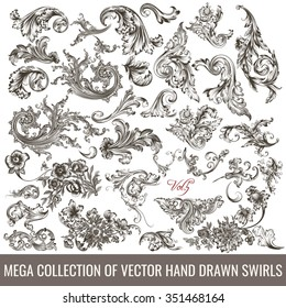 Big collection of hand drawn flourishes in engraved vintage style for design