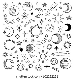 Big collection of hand drawn outline stars, sun and moon isolated on white background.