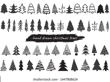 Big collection of hand drawn vector christmas trees in black and white colors. Set of decorative elements for cards, posters, banners