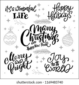 Big collection of handwritten christmas lettering.