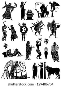 Big collection of icons in the Greek style