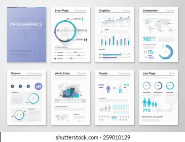 Big collection of infographic business brochures and graphics. Use for workflow layout, diagram, number options, step up options, web template, infographics, websites, brochures, flyers and prints.