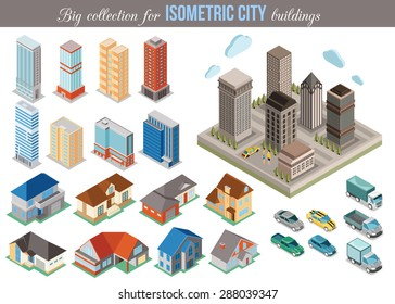 Big collection for isometric city buildings and cars. Vector illustration