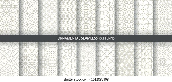 Big collection of light geometrical patterns. White, beige grille texture in Arabic, Oriental style. Set of seamless vector backgrounds.