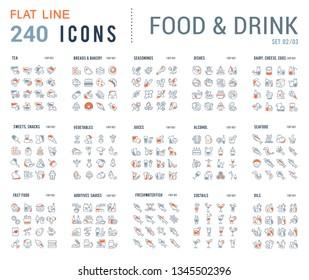 Große Sammlung linearer Symbole. Nahrungsmenge
