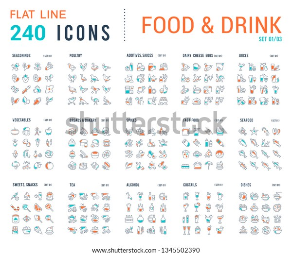 Big collection of linear icons. Set of food & drinks. Sweets, meat, dairy, bakery, cheese, eggs, dishes, fast food, vegetables, spices, seafood, tea, alcohol, fruits, herbs, coffee, leaf, and others.