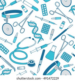 Big collection of medical tools, seamless pattern. Hand drawn icon set vector. Sketch objects background. Blue and white backdrop. Good for a printing and web materials, medical clinic