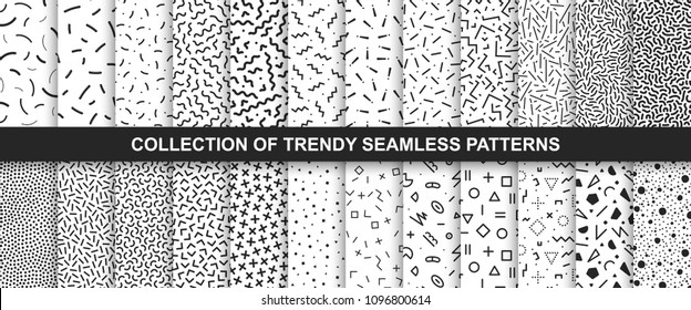Big collection of memphis seamless vector patterns. Fashion design 80-90s. Black and white textures. You can find repeatable backgrounds in swatches panel.