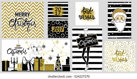 Big collection with Merry Christmas and Happy New Year 2017 Beautiful festive bright decoration for holiday greeting cards.Xmas illustrations with girl,gift boxes, snowflakes and garlands, Santa Claus