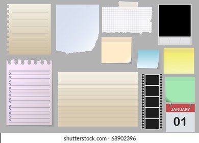 Big collection of message paper on the metal panel, vector illustration