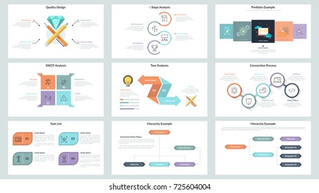 Big collection of minimalistic infographic presentation slide templates with workflow and hierarchy charts, analytical diagrams, colorful elements and text boxes. Modern vector illustration.