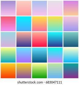 Big collection of modern colorful gradients for mobile app and website design. Trendy summer color backgrounds for brochure, flyer, poster and banner design.