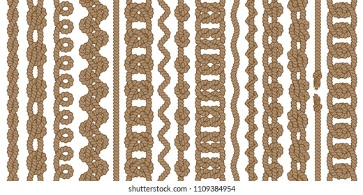Big collection of monochrome rope vector seamless borders with knots, loops and tassels