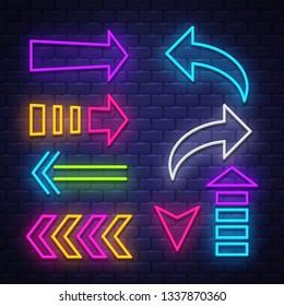 Big collection neon arrows. Neon arrows symbols design elements. Vector