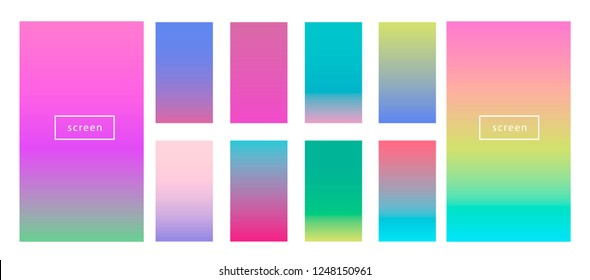 Big collection of neon pastel holographic gradients. Colorful backgrounds in trendy neon colors. Swatches for design. Synthwave/ retrowave/ vaporwave neon aesthetics.