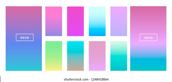 Big collection of neon pastel holographic gradients. Colorful backgrounds in trendy neon colors: UFO Green, Plastic Pink, and Proton Purple, Electric Blue. Swatches for design.