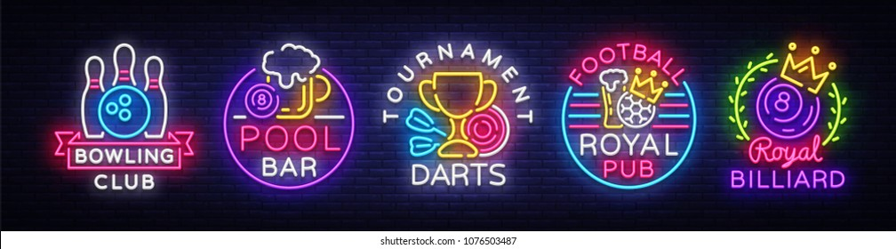 Big collection neon signs for Bowling, Darts, Billiards, Football Pub. Set Logos neon, light emblems signs and symbols, light banner, design elements, nightly vibrant advertising. Vector illustration