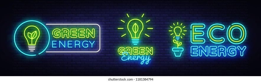 Big Collection Neon Signs. Green Energy Neon Logos Vector. Green Energy neon text, design template, modern trend design, night neon signboard, night advertising, light banner, light art. Vector