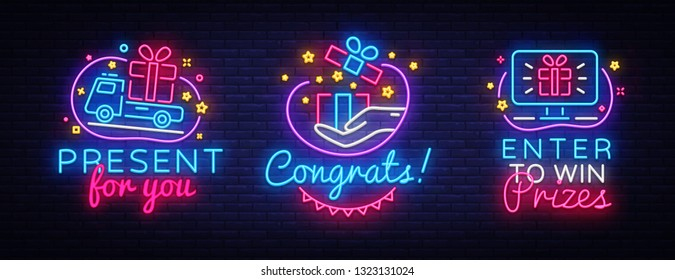 Big collection neon signs Prizes. Gift Neon Banner Vector. Enter to win prizes design template, modern trend design, night light signboard, night bright advertising. Vector illustration