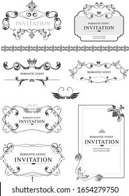 Big collection of ornate vector frames and ornaments with sample text. Perfect as invitation or announcement. All pieces are separate